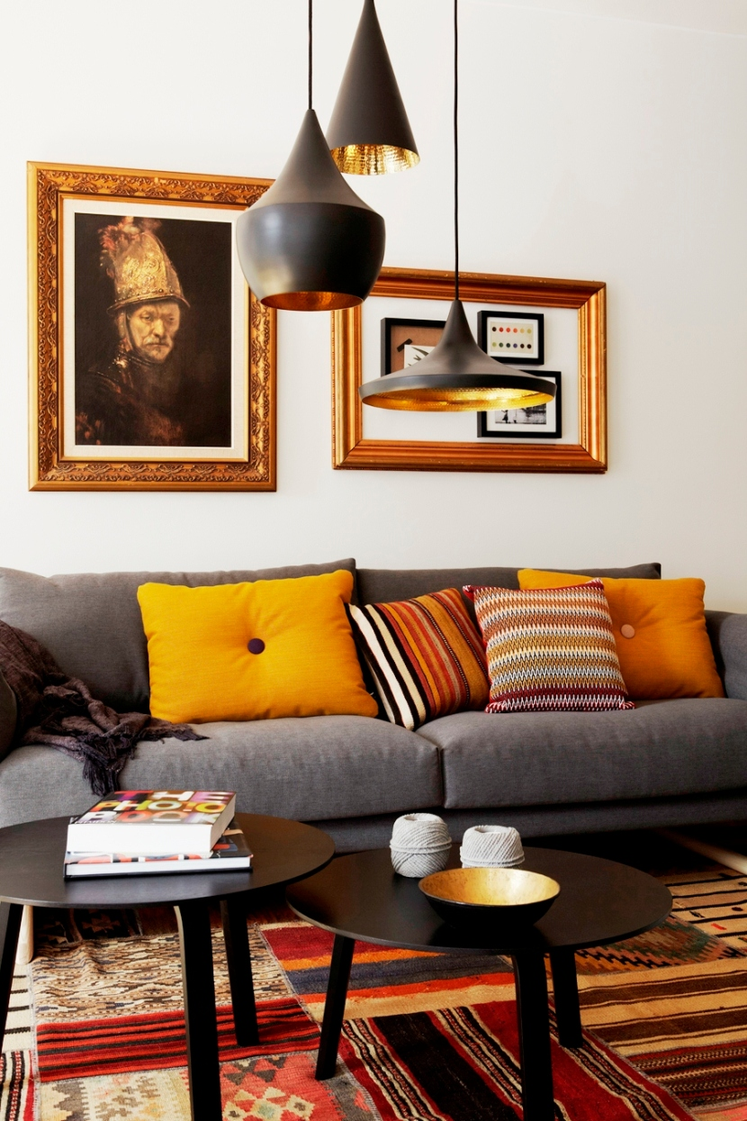 likeable-brown-pendant-lamps-above-the-round-dark-tables-mixed-with-gray-sofa-with-yellow-pillows-and-assorted-tile-of-carpet