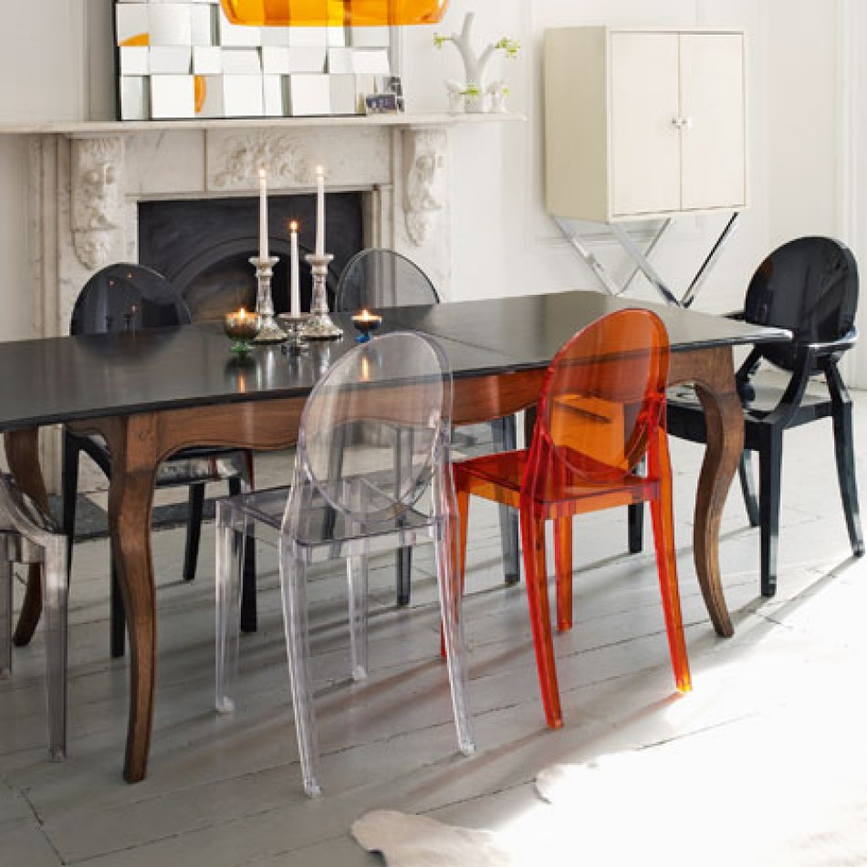 Inspiration dining room chairs kartell for Chaise ghost kartell